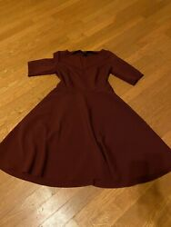 Burgundy Dress Fit And Flare Midi Nice Material $20.00