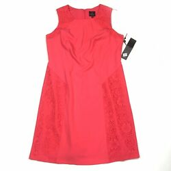Adrianna Papell Sz 14 Pink Fit And Flare Dress Crepe Lace Trim Sleeveless NEW $50.00