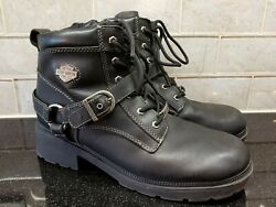 Womens Black Leather HARLEY DAVIDSON Biker Boots Lace Up Buckle Strap Tegan 11 $69.99