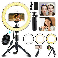 10'' Dimmable LED Ring Light Video Photo Lighting Lamp+Tripod Stand+Phone Holder $19.97