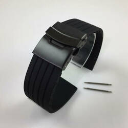 Black Rubber Silicone Replacement Watch Band Strap PVD Double Locking Buckle #12 $11.95