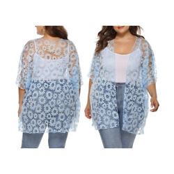 Women's Plus Size Sheer Lace Daisy Printed Kimono Cardigan Beach Casual Cover Up $15.39