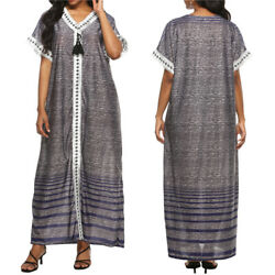 Women#x27;s Loose V neck Short Sleeve Casual Relaxed Lounge Long Maxi Dress $15.88