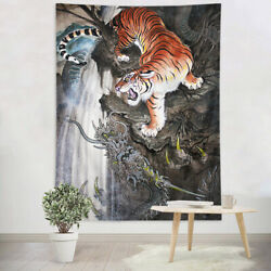 Asian Painting Dragon Tiger Fighting Tapestry Wall Hanging Living Room Bedroom $19.99