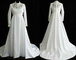 Size 10 Wedding Dress 1960s White Crepe Vintage Bridal Gown Attached Train $179.99