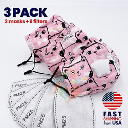 3 PACK Kitty Bear Kids Cotton Valve Face Mask with Filter Pocket PM2.5 Filter $3.99