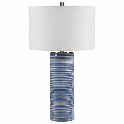 Elegant Indigo White Striped Contemporary Table Lamp Denim Blue Coastal Cylinder $301.40