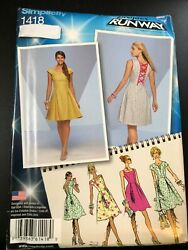 Simplicity Pattern 1418 Ms PROJECT RUNWAY Dress wBack Detail~Sleeve Variations