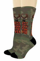 Best Brother Gifts Best Buckin Brother Ever Camo Socks Big Novelty Crew Socks $20.99