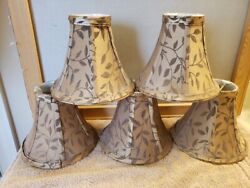 5 Mini Lampshades Chandelier Lamp Shades Taupe with Fauna Flourishes $19.99