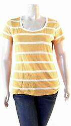 Route 66 Womens size XL Cotton Short Sleeve Scoop Neck Basic T Shirt Tee Yellow $5.99