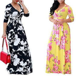 Boho Floral Holiday Beach Plus Women#x27;s Dress Size Strappy Dresses Ladies Summer $18.27