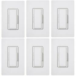 Lutron Dimmer Switch for Dimmable LED INC HAL Bulbs Wallplate White 6 Pack