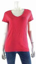 Route 66 Womens size M Cotton Short Sleeve V Neck Basic T Shirt Tee Red Solid $5.99