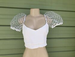 NWT ZARA WHITE DOTTED MESH POLKA DOT TOP Sexy SHORT Puff Sleeves Size M 3365 $27.99