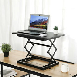 Height Adjustable Standing Desk Converter Sitting Standing Workstation Black US $69.98