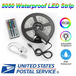 5m 16.4ft RGB 5050 Waterproof SMD LED Strip Light+44 Key(Include Battery)+Power $12.59