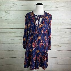 American Eagle AEO Blue Floral Mini Dress Sz L Tie Neck Keyhole Long Sleeve Boho $17.49