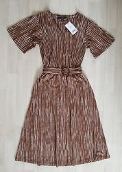 BROWN STRIPED DRESS size 10 white WRAP OVER matching belt NEXT summer $21.25