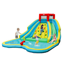 Inflatable Mighty Water Slide Park Bouncy Splash Pool Climbing Wall Kids Playset $379.95
