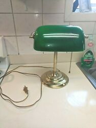 Vintage Bankers Desk Lamp  Green Glass Shade Pull Chain Piano $39.50
