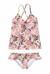 Billabong Youth Girls Beach Beauty 2 Piece Tankini Set Swimwear Dusty Rose 10 Ne $18.74