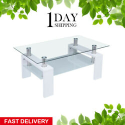 White Modern Glass Coffee Table Shelf Living Room Wood Furniture Rectangular US $75.38