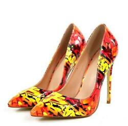 2020 Fashion Runway womens pointed toe high heels Stiletto floral party shoes $59.85
