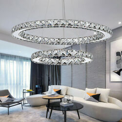 Modern Stylish Crystal Chandelier Ceiling Light Fixture Cool White Led Lighting $79.19