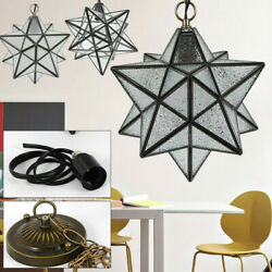 Moravian Star Crystal Glass Ceiling Pendant Light Iron Chandeliers 30cm Lamps $39.20