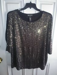 INC International Concepts Black Sequin Top 2X