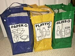 Recycling Bins 3 Piece Of Separate Plastic Bins Snap Together Or Use Separately