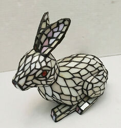 Vintage Stained Glass Sculpture Rabbit White Red Lamp Night Light Decor $220.00