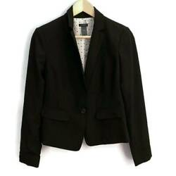 Ann Taylor Womens Suit Jacket Blazer Black Stretch Long Sleeve Button Lined XS 2 $25.83