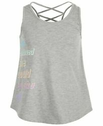 New ~ Ideology Big Girls She Believed Graphic Tank Top Gray Size L 14 XL 16
