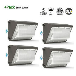 4 Pack 120W 80W Led Wall Pack Commercial Outdoor Security Lighting Dusk to Dawn