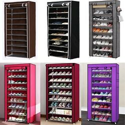 New 10 Tier 30 Pairs Shoe Rack Tower Cabinet with Cover  Organizer Storage Shelf $20.99