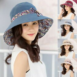 Womens Bucket Boonie Hat Wide Brim Summer UV Protection Beach Foldable Sun Cap $13.01