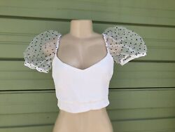 NWT ZARA WHITE DOTTED MESH POLKA DOT TOP Sexy SHORT Puff Sleeves Size XS 3837 $35.99