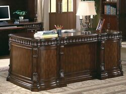 EXQUISITE ORNATE CARVINGS WARM BROWN EXECUTIVE OFFICE DESK FURNITURE  $1,399.00