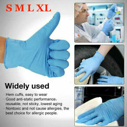 100 Pcs Nitrile Blue Durable Rubber Cleaning Hand Gloves Powder Latex Free  $8.99