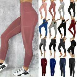 Women Sports Leggings Yoga Pants Pocket High Waisted Ftiness Athletic Trousers $13.69