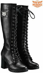 Womens Knee High Laced Boots By Milwaukee Riders $86.52