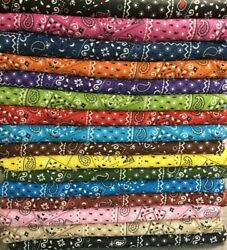 1ST QUALITY QUILTING 100% COTTON 45 WIDE BTY  16 COLORS ***BANDANA***  MASKS $4.50