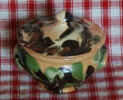 FRENCH VINTAGE COVERED CASSEROLE ANTIQUE JASPE SMALL YELLOW WARE POTTERY $135.00