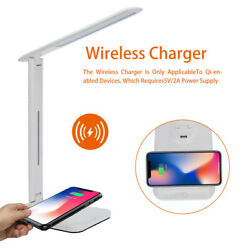 LED USB Charge Table Desk Lamp + QI Wireless Phone Charger Reading Home Light $16.99