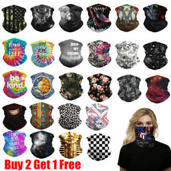 Men Women Motorcycle Tube Mask Washable Face Cover Neck Gaiter Bandana Scarf $6.95