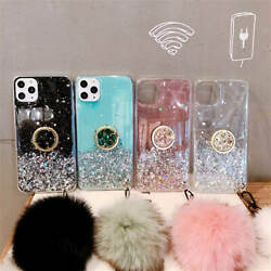 For iPhone 11 Pro Max XR XS X Bling Phone Case With Ring Stand Hand Strap Cover $8.99