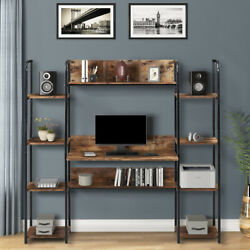 Computer Desk with Hutch Bookcase Shelves Storage Brown Wood Metal Home Office $248.99