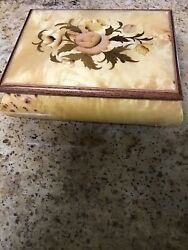 """Burl Wood FLORAL Inlaid Music Box Plays Dr Zhivago Made In Italy 6 12""""X 4 12"""" $17.00"""
